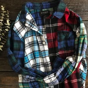 Pacsun Mixed Plaid Oversized Flannel